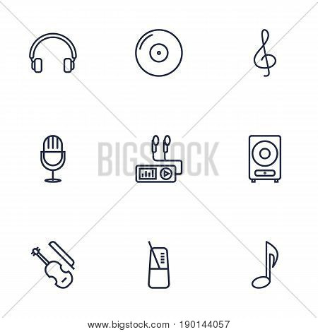 Set Of 9 Music Outline Icons Set.Collection Of Loudspeaker, Gramophone, Headphones And Other Elements.