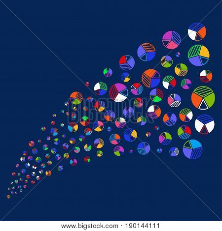 Source stream of pie chart symbols. Vector illustration style is flat bright multicolored pie chart iconic symbols on a blue background. Object source done from confetti pictographs.