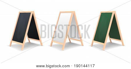 Realistic special menu announcement board icon set. Vector clean restaurant outdoor blackboard background. Mockup of chalkboard for restaurant menu, isolated on white background. Side or half-turnover view. EPS10 illustration.