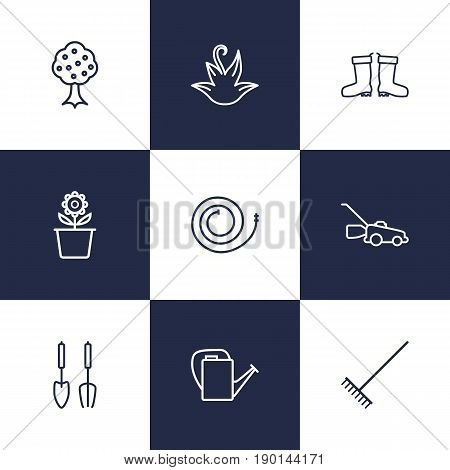 Set Of 9 Horticulture Outline Icons Set.Collection Of Herb, Waterproof Shoes, Firehose And Other Elements.