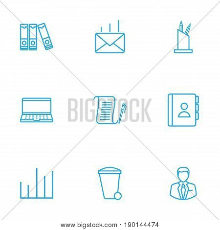 Set Of 9 Cabinet Outline Icons Set.Collection Of Administrator, Chart, Document Case And Other Elements.