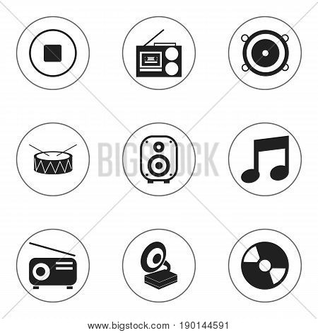 Set Of 9 Editable Music Icons. Includes Symbols Such As Snare, Cassette Player, Phonograph And More. Can Be Used For Web, Mobile, UI And Infographic Design.