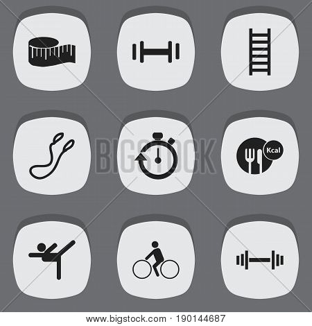 Set Of 9 Editable Lifestyle Icons. Includes Symbols Such As Stairway, Heft, Cloth Ruler And More. Can Be Used For Web, Mobile, UI And Infographic Design.