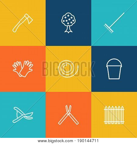 Set Of 9 Farm Outline Icons Set.Collection Of Firehose, Hatchet, Pail And Other Elements.