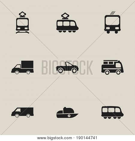 Set Of 9 Editable Transport Icons. Includes Symbols Such As Streetcar, Tramcar, Camion And More. Can Be Used For Web, Mobile, UI And Infographic Design.