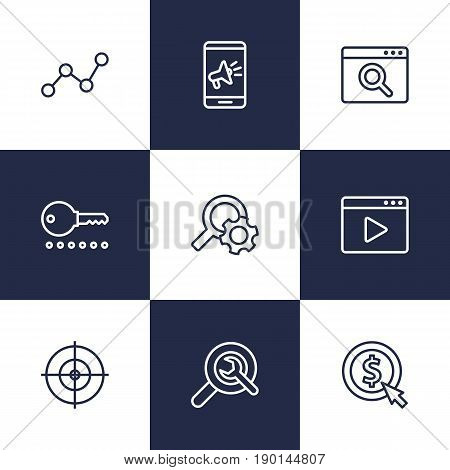 Set Of 9 Optimization Outline Icons Set.Collection Of Item Identifier, Cost Per, Scan And Other Elements.