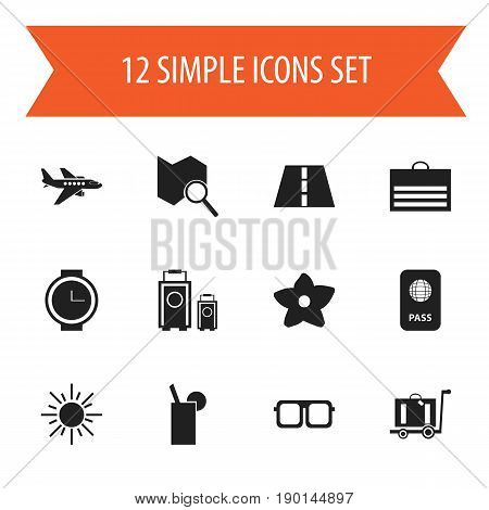 Set Of 12 Editable Trip Icons. Includes Symbols Such As Bloom, Sun, Luggage And More. Can Be Used For Web, Mobile, UI And Infographic Design.