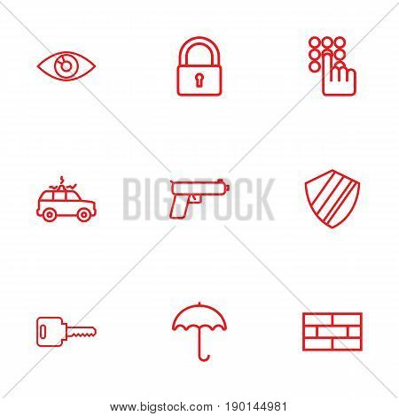 Set Of 9 Procuring Outline Icons Set.Collection Of Firewall, Open, Vision And Other Elements.