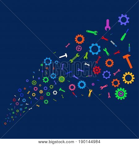 Source of repair instruments symbols. Vector illustration style is flat bright multicolored repair instruments iconic symbols on a blue background. Object stream combined from random icons.