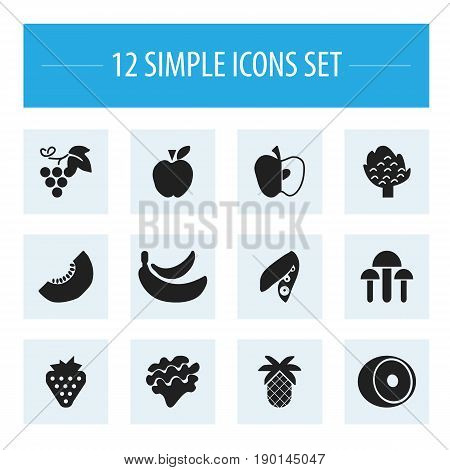 Set Of 12 Editable Fruits Icons. Includes Symbols Such As Apple, Berry, Tropical Fruit And More. Can Be Used For Web, Mobile, UI And Infographic Design.