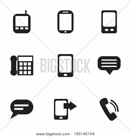 Set Of 9 Editable Device Icons. Includes Symbols Such As Tablet, Calling Device, Transceiver And More. Can Be Used For Web, Mobile, UI And Infographic Design.