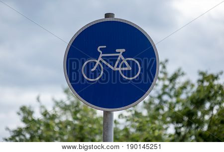 Road sign A road for bicycles on the territory of Luzhniki sports complex in Moscow