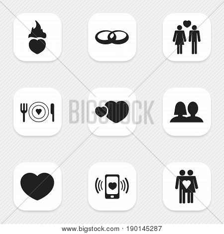 Set Of 9 Editable Love Icons. Includes Symbols Such As Wedding, Soul, Couple And More. Can Be Used For Web, Mobile, UI And Infographic Design.