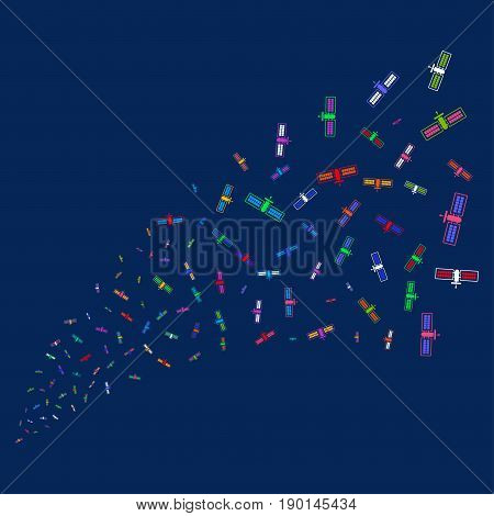 Source stream of satellite symbols. Vector illustration style is flat bright multicolored satellite iconic symbols on a blue background. Object stream constructed from random symbols.