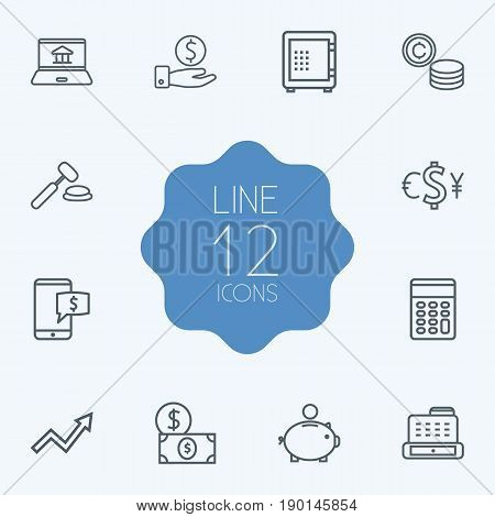 Set Of 12 Finance Outline Icons Set.Collection Of Safe, Auction, Grow Up And Other Elements.