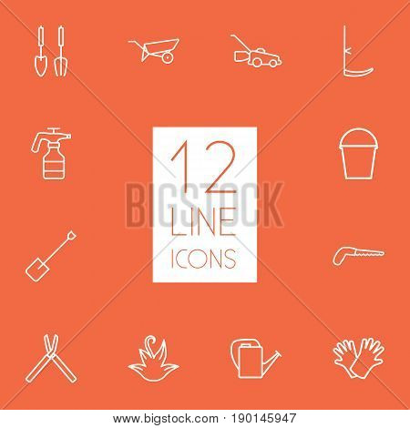 Set Of 12 Farm Outline Icons Set.Collection Of Safer Of Hand , Shears, Spade Elements.
