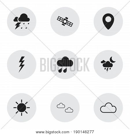 Set Of 9 Editable  Icons. Includes Symbols Such As Sputnik, Rainstorm, Storm And More. Can Be Used For Web, Mobile, UI And Infographic Design.