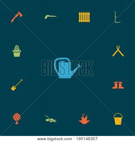 Set Of 13 Horticulture Icons Set.Collection Of Watering Can, Lawn Mower, Shovel And Other Elements.