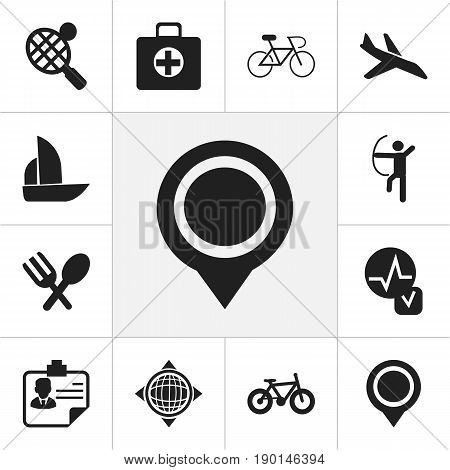 Set Of 12 Editable Mixed Icons. Includes Symbols Such As Bowman, Plane, First Aid Box And More. Can Be Used For Web, Mobile, UI And Infographic Design.