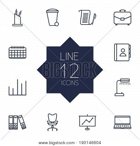 Set Of 12 Bureau Outline Icons Set.Collection Of Portfolio, Document Case, Date And Other Elements.