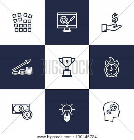 Set Of 9 Strategy Outline Icons Set.Collection Of Currency, Grid Structure, Development And Other Elements.
