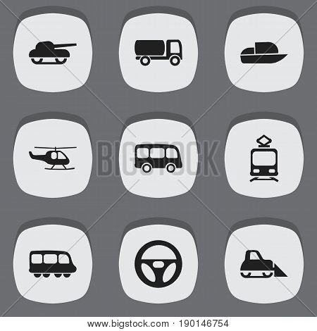 Set Of 9 Editable Transport Icons. Includes Symbols Such As Weapon, Drive Control, Tanker And More. Can Be Used For Web, Mobile, UI And Infographic Design.