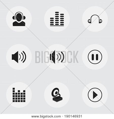 Set Of 9 Editable Audio Icons. Includes Symbols Such As Sound, Sound Controlling, Earpiece And More. Can Be Used For Web, Mobile, UI And Infographic Design.