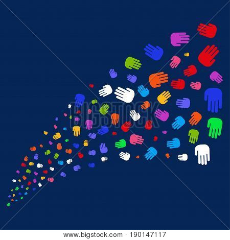 Fountain of stop hand icons. Vector illustration style is flat bright multicolored stop hand iconic symbols on a blue background. Object salute organized from scattered pictographs.
