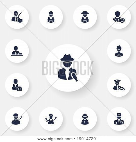 Set Of 13 Professions Icons Set.Collection Of Working, Planner, Leaner And Other Elements.