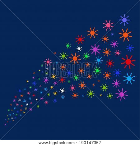Fountain of sun symbols. Vector illustration style is flat bright multicolored sun iconic symbols on a blue background. Object fountain organized from scattered symbols.