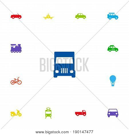 Set Of 13 Transport Icons Set.Collection Of Taxicab, Wagon, Hatchback And Other Elements.
