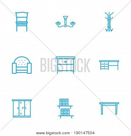 Set Of 9 Set Outline Icons Set.Collection Of Hanger, Desk, Closet And Other Elements.
