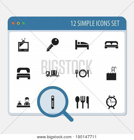 Set Of 12 Editable Motel Icons. Includes Symbols Such As Alarm, Pool, Tv And More. Can Be Used For Web, Mobile, UI And Infographic Design.