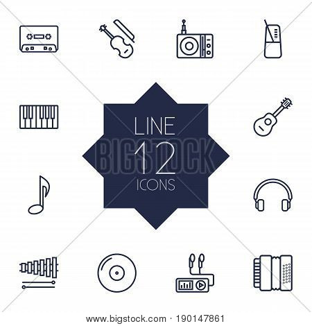 Set Of 12 Song Outline Icons Set.Collection Of Musical Sign, Turntable, Fortepiano And Other Elements.