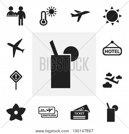 Set Of 12 Editable Journey Icons. Includes Symbols Such As Boarding Pass, Caution, Lemonade And More. Can Be Used For Web, Mobile, UI And Infographic Design.