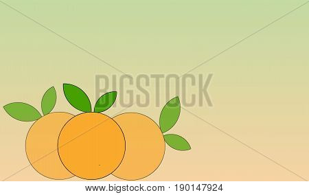 Three oranges. Illustration of three fruits. Cartoon. Gradient of colors at the background. Citrus sinensis