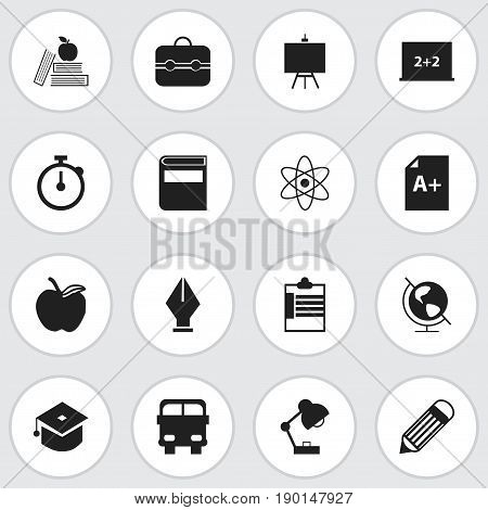 Set Of 16 Editable School Icons. Includes Symbols Such As Ceremony, Writing Board, Nib And More. Can Be Used For Web, Mobile, UI And Infographic Design.