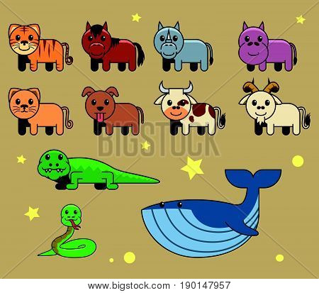 Vector collection set of assorted cute animal