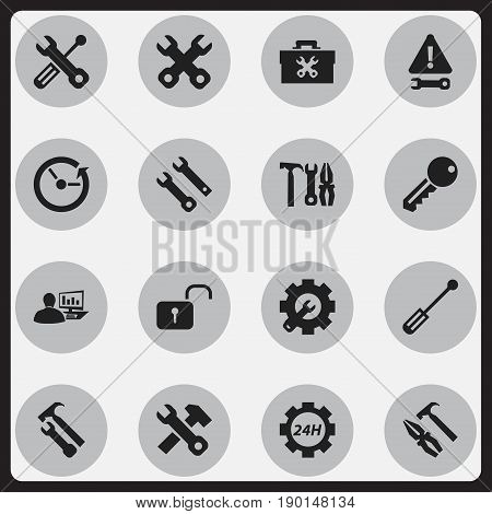 Set Of 16 Editable Toolkit Icons. Includes Symbols Such As Access, Service, Time And More. Can Be Used For Web, Mobile, UI And Infographic Design.