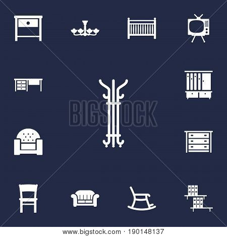 Set Of 13 Situation Icons Set.Collection Of Worktop, Cot, Rocking Furniture And Other Elements.