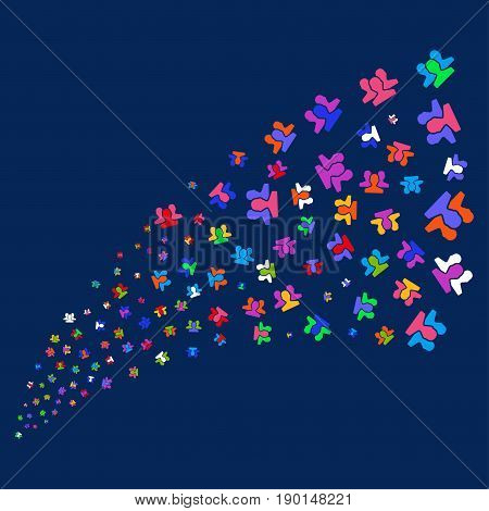 Fountain of users icons. Vector illustration style is flat bright multicolored users iconic symbols on a blue background. Object source made from scattered pictographs.