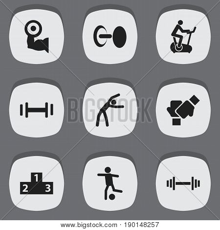 Set Of 9 Editable Healthy Icons. Includes Symbols Such As Strength, Platform For Winner, Crossbar And More. Can Be Used For Web, Mobile, UI And Infographic Design.