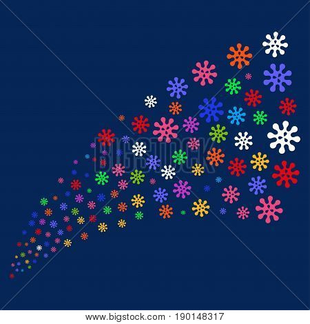 Source stream of virus symbols. Vector illustration style is flat bright multicolored virus iconic symbols on a blue background. Object source made from confetti symbols.
