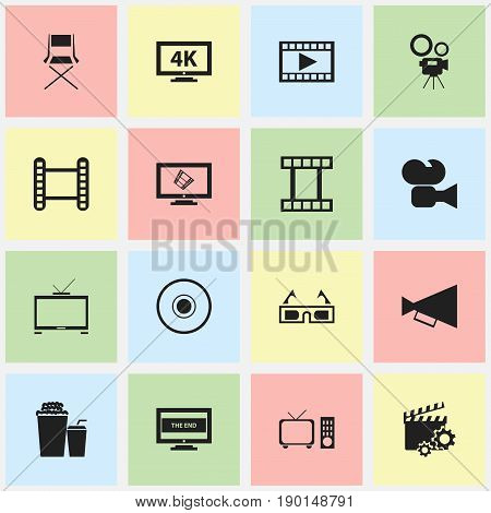 Set Of 16 Editable Cinema Icons. Includes Symbols Such As The End, Announcement, Movie Strip And More. Can Be Used For Web, Mobile, UI And Infographic Design.