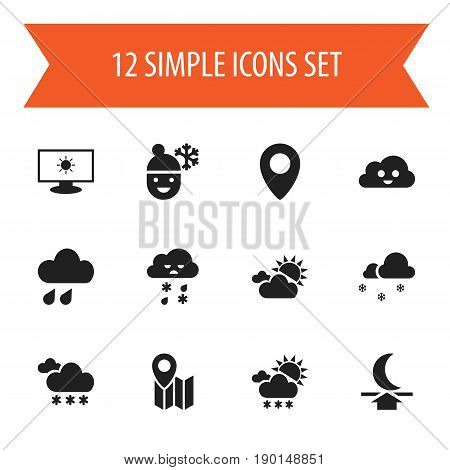 Set Of 12 Editable  Icons. Includes Symbols Such As Boy In Winter, Covered With Snow, Pinpoint And More. Can Be Used For Web, Mobile, UI And Infographic Design.