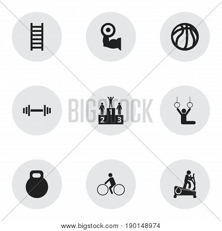 Set Of 9 Editable Fitness Icons. Includes Symbols Such As Weightiness, Crossbar, Instruction Male And More. Can Be Used For Web, Mobile, UI And Infographic Design.