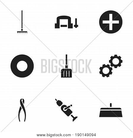 Set Of 9 Editable Apparatus Icons. Includes Symbols Such As Tongs, Digging, Plus And More. Can Be Used For Web, Mobile, UI And Infographic Design.