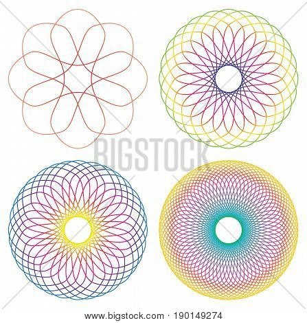 Collection of 4 rainbow colored line spirograph abstract elements - 4 different geometric ornaments flower like symmetry isolated on white