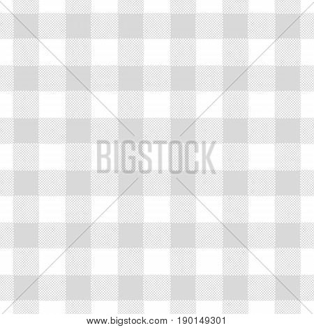 Seamless abstract illustration of grey (greyscale) chechkered (gingham) table cloth vintage or retro styled traditional pattern also for napkin