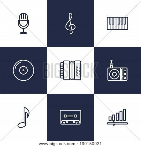 Set Of 9 Music Outline Icons Set.Collection Of Gramophone, Note, Harmonica And Other Elements.